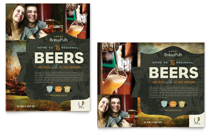 Brewery & Brew Pub Poster Template Design Download - InDesign, Illustrator, Word, Publisher, Pages