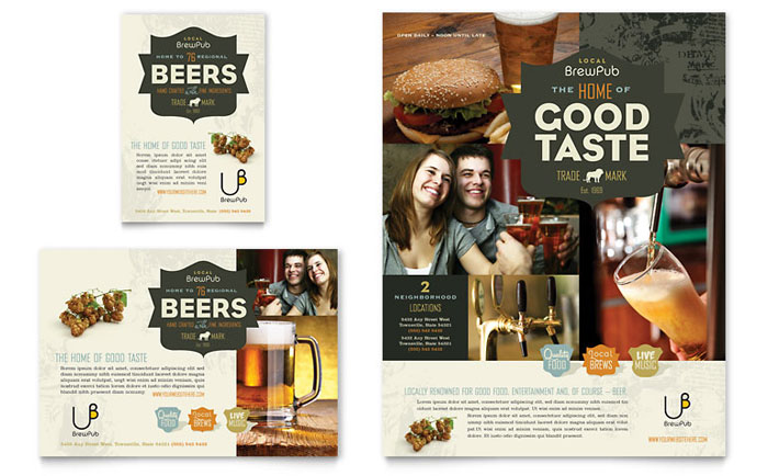 Brewery & Brew Pub Flyer & Ad Template Design Download - InDesign, Illustrator, Word, Publisher, Pages