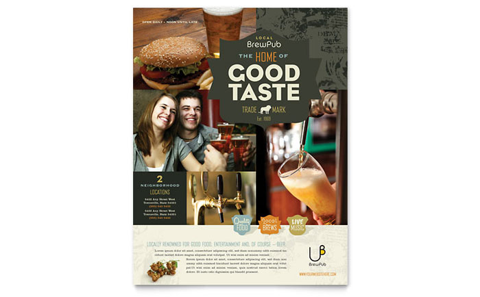 Brewery & Brew Pub Flyer Template Design Download - InDesign, Illustrator, Word, Publisher, Pages