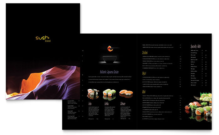 Sushi Restaurant Menu Template Design