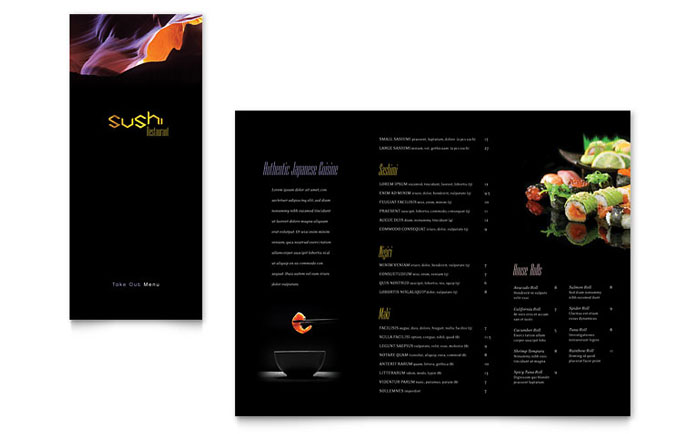 Sushi Restaurant Take Out Brochure Template Design Indesign Ilrator Word Publisher