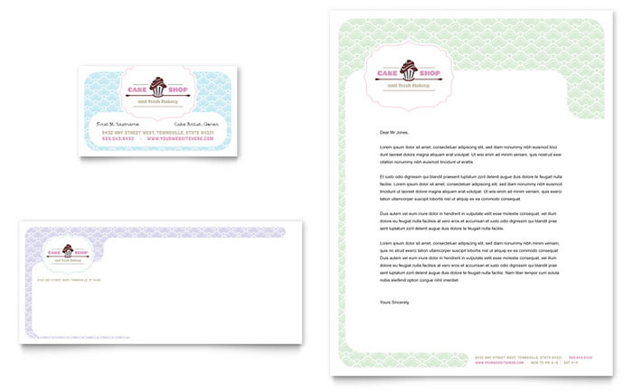 Bakery cupcake shop business card letterhead template design cheaphphosting Image collections