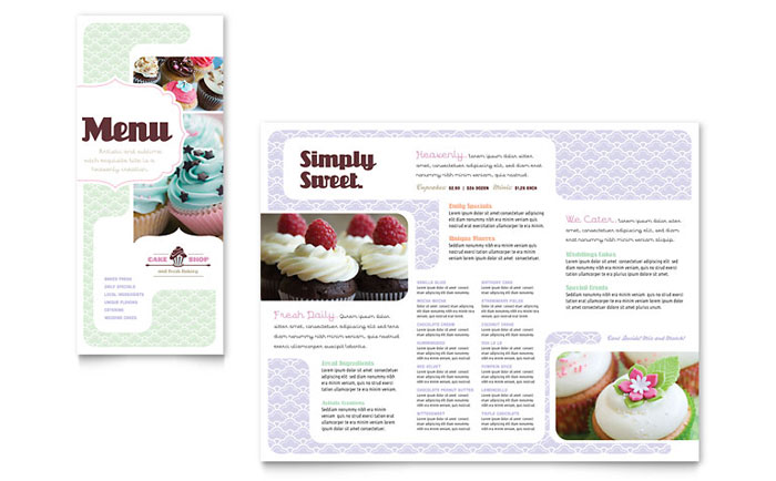 Bakery & Cupcake Shop Menu Template Design