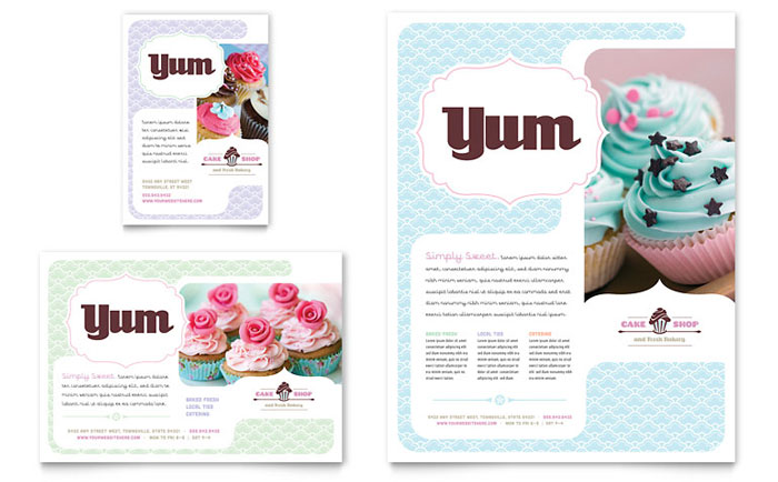 Bakery Cupcake Shop Flyer Ad Template Design - Bakery brochure template free