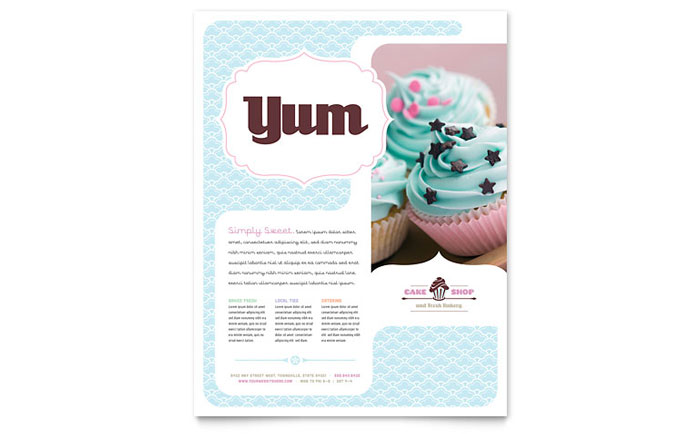 Bakery & Cupcake Shop Flyer Template Design