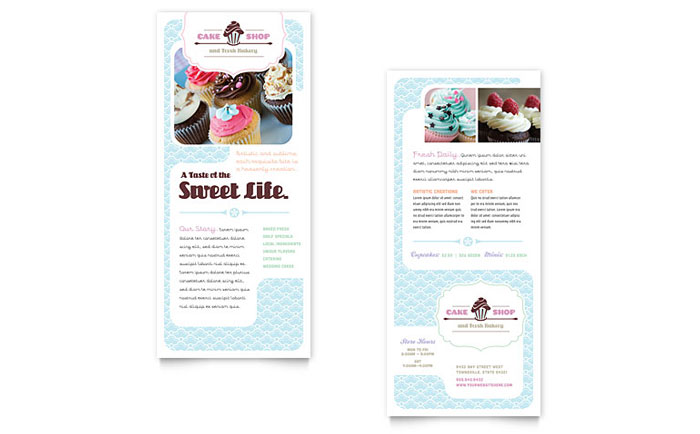 Bakery & Cupcake Shop Rack Card Template Design Download - InDesign, Illustrator, Word, Publisher, Pages