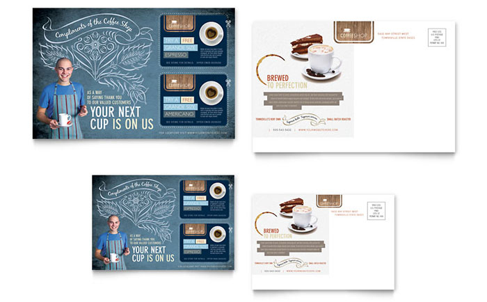 Coffee shop postcard template design for Indesign postcard template 4x6
