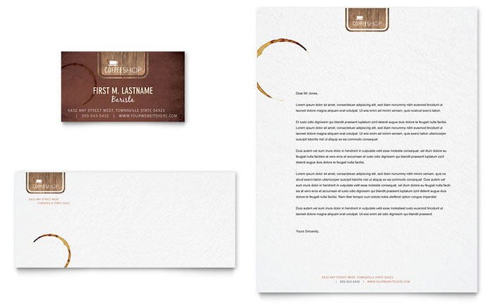 Coffee Shop Business Card & Letterhead Template Design Download - InDesign, Illustrator, Word, Publisher, Pages
