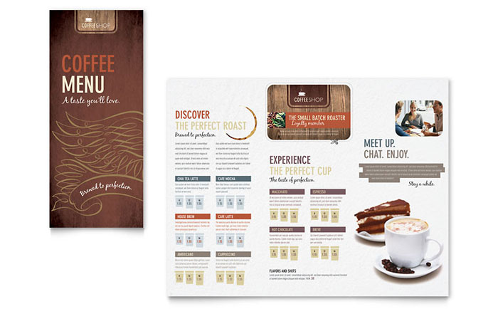 Coffee Shop  Cafe Menus  Templates  Designs  Sample Layouts