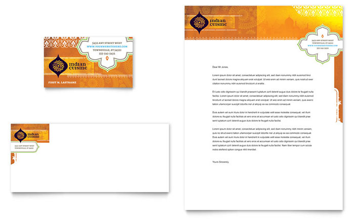 Indian restaurant business card letterhead template design spiritdancerdesigns