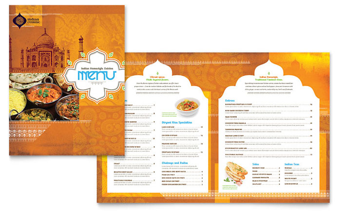 Indian restaurant menu template design for Menu brochure template word