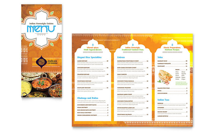 Indian Restaurant Takeout Brochure Template Design - Menu brochure template