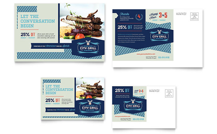 Fine dining restaurant postcard template design cheaphphosting