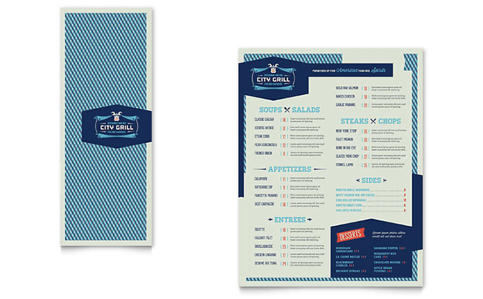 Fine dining restaurant take out brochure template design for Fine dining menu template free
