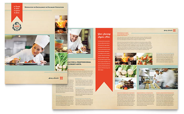 Culinary School Brochure Template Design - Tri fold school brochure template