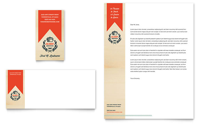 Culinary School Business Card & Letterhead Template Design - InDesign, Illustrator, Word, Publisher, Pages