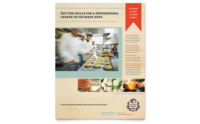 Culinary School Flyer Template Download - InDesign, Illustrator, Word, Publisher, Pages