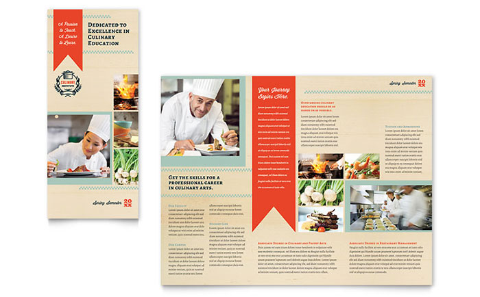 Culinary school tri fold brochure template design for Tri fold school brochure template