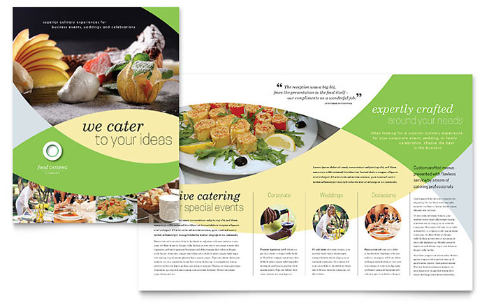 Food catering brochure template design for Free food brochure templates