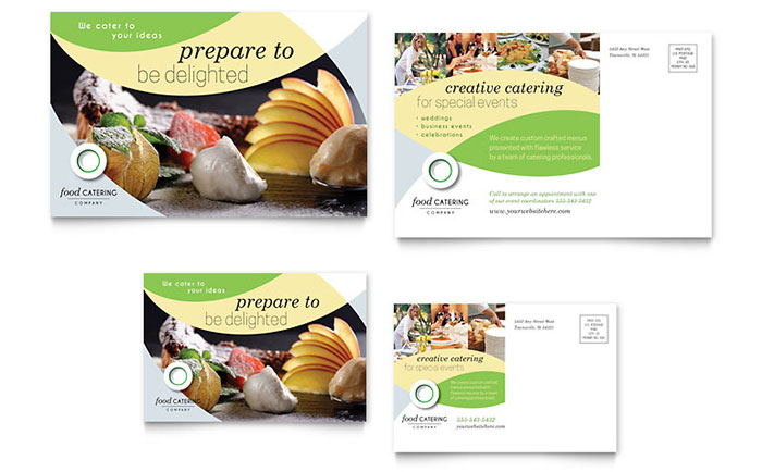 Food Catering Postcard Template Design Download - InDesign, Illustrator, Word, Publisher, Pages
