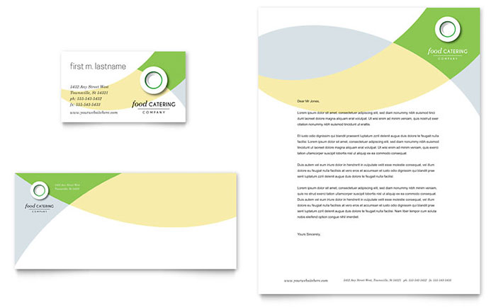 Food Catering Business Card & Letterhead Template Design