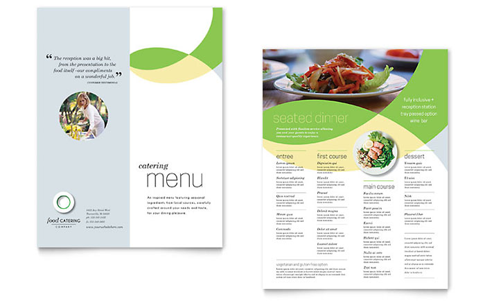 Food catering menu template design for Microsoft publisher menu templates free