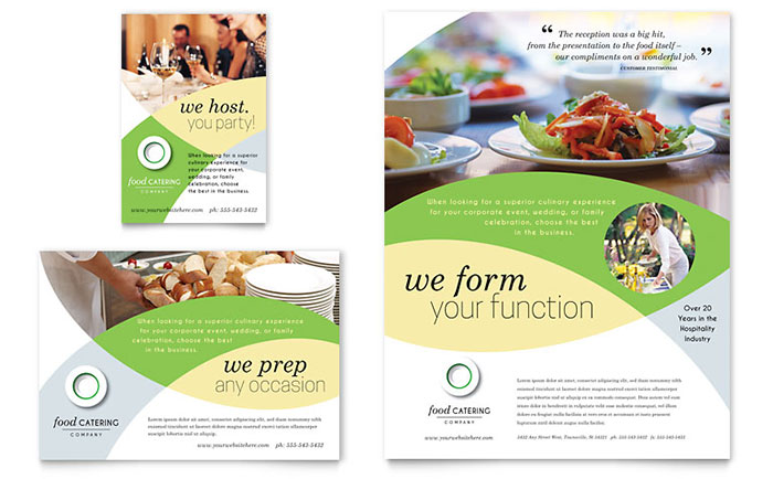 food brochure templates - food catering flyer ad template design