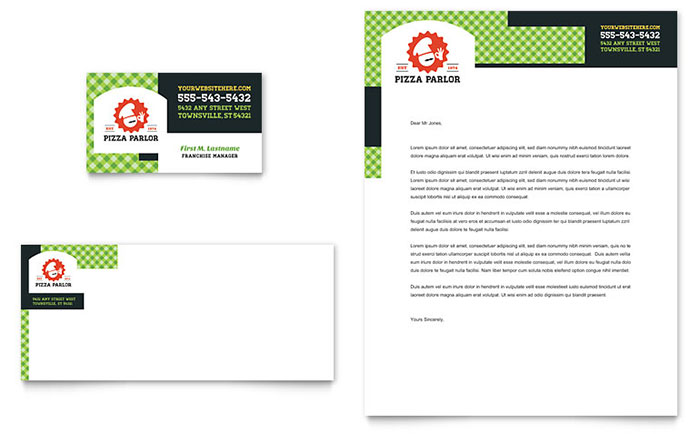 Pizza Parlor Business Card & Letterhead Template Design Download - InDesign, Illustrator, Word, Publisher, Pages