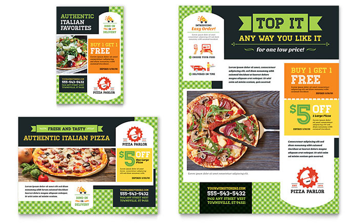 Pizza Parlor Flyer & Ad Template Design Download - InDesign, Illustrator, Word, Publisher, Pages