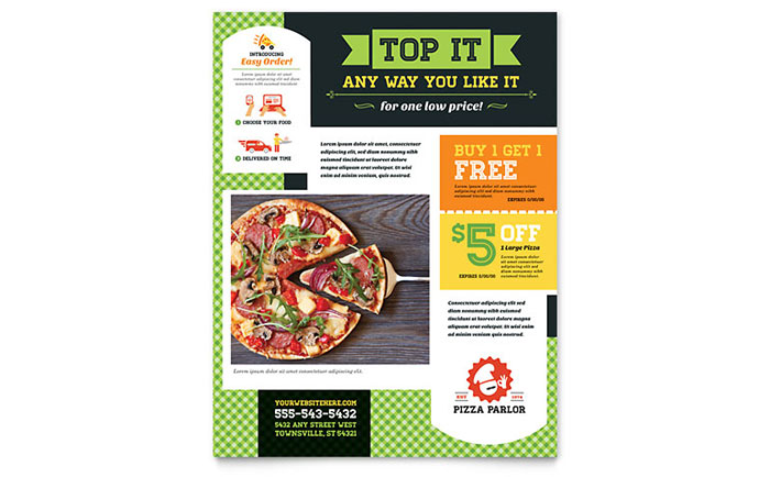 Pizza Parlor Flyer Template Design Download - InDesign, Illustrator, Word, Publisher, Pages