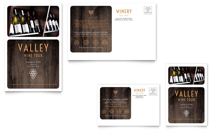 Winery Postcard Template Design Download - InDesign, Illustrator, Word, Publisher, Pages
