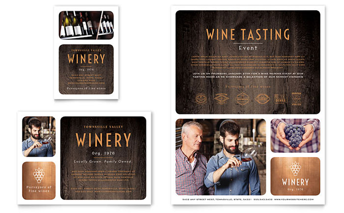 Winery flyer ad template design maxwellsz