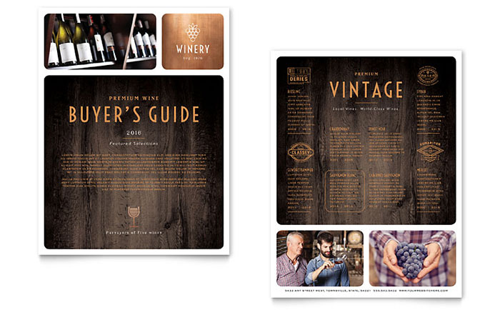 Winery Datasheet Template Design Download - InDesign, Illustrator, Word, Publisher, Pages