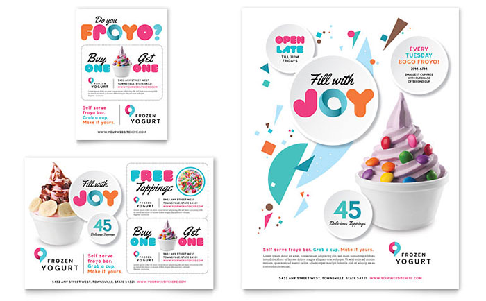 Frozen Yogurt Shop Flyer & Ad Template Design