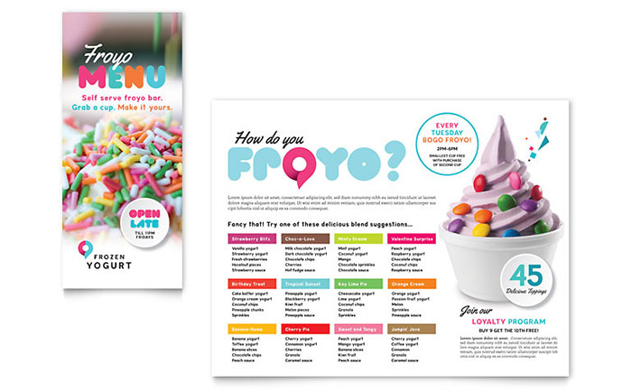 Frozen Yogurt Shop Take-out Brochure Template Design Download - InDesign, Illustrator, Word, Publisher, Pages