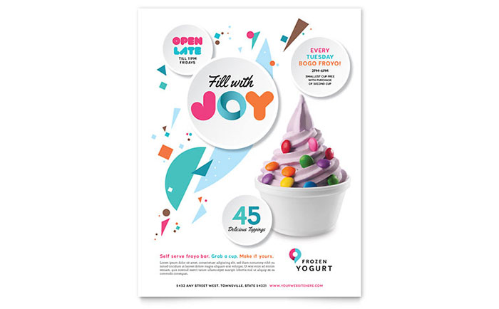 Frozen Yogurt Shop Flyer Template Design Download - InDesign, Illustrator, Word, Publisher, Pages
