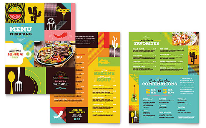 free food brochure templates - mexican food cantina menu template design