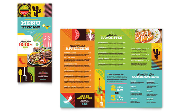Mexican Food Cantina Takeout Brochure Template Design - Menu brochure template