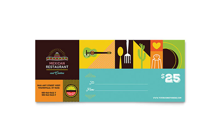 Mexican Food & Cantina Gift Certificate Template Design