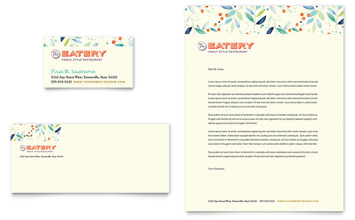 Family Restaurant Business Card & Letterhead Template Design