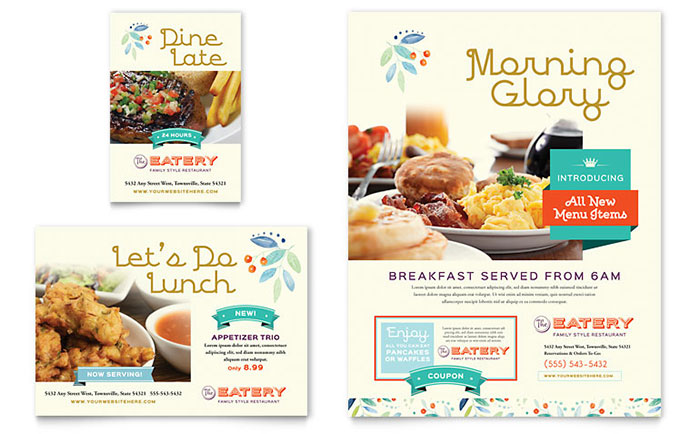 family restaurant flyer ad template