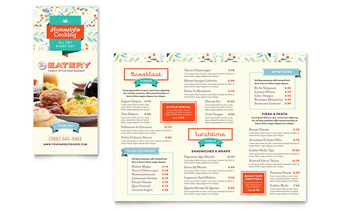 Family Restaurant Menu Template  Cafe Menu Template Word