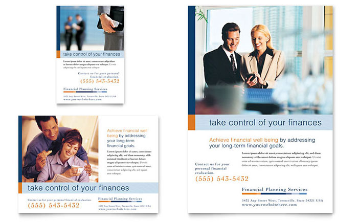 Financial planning consulting flyer ad template design for Financial brochure templates