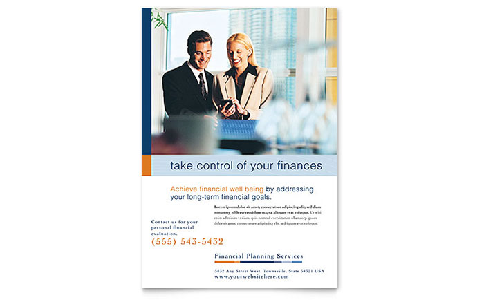 financial planning  u0026 consulting flyer template design