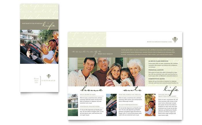 Life amp Auto Insurance Company Brochure Template Design