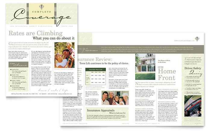 Insurance Newsletters  Templates  Designs  Sample Layouts