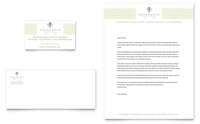 Life auto insurance company business card letterhead template design reheart Images