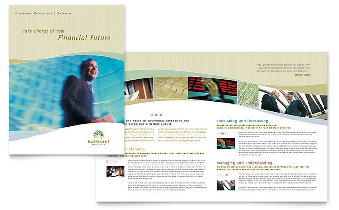 Investment Management Brochure Template Design Download - InDesign, Illustrator, Word, Publisher, Pages