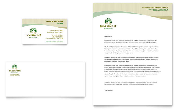 Investment Management Business Card Amp Letterhead Template Design