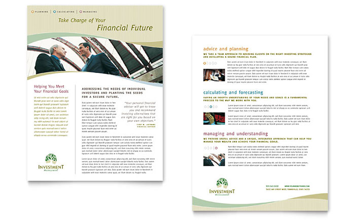 Investment Management Datasheet Template Design Download - InDesign, Illustrator, Word, Publisher, Pages